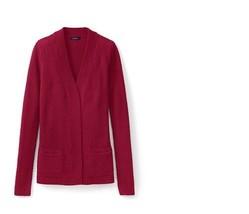 Lands End Women's Lofty Textured Open Cardigan Sweater Deep Scarlet New - $24.99