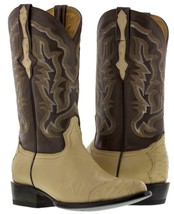 mens sand beige oryx real ostrich skin 3 piece western leather cowboy boots - €137,16 EUR