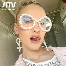 Vintage Women Pearl Glasses Frame  Luxury Wave legs Cateye Sunglasses Fashion Ra image 1