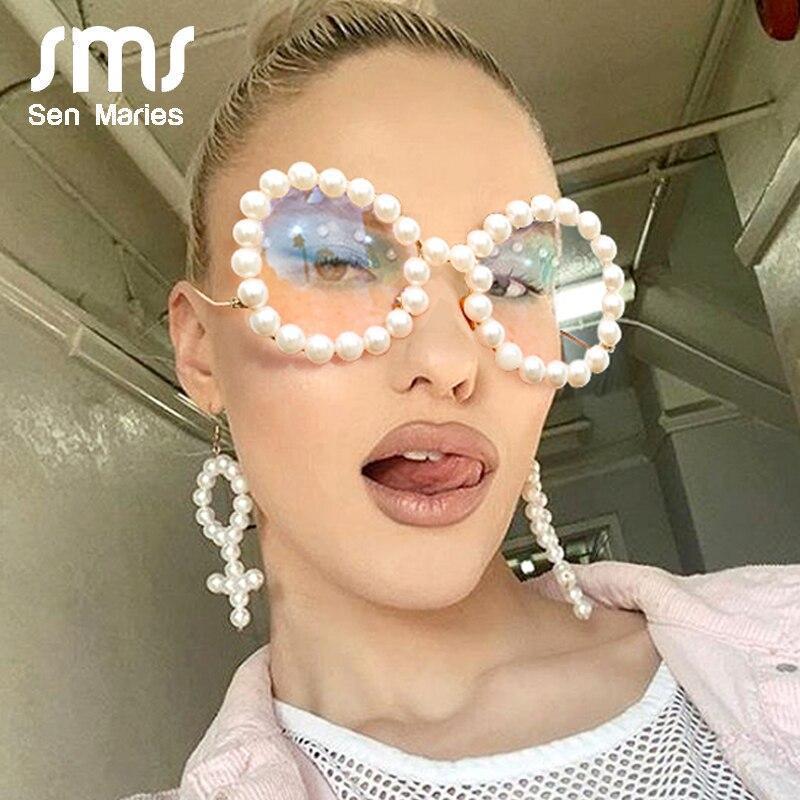 N pearl glasses frame 2020 luxury wave legs cateye sunglasses fashion rainbow pearl frames clear