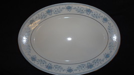 Noritake 14in Platter Contemporary Medium Oval 2482 Blue Hill Vintage China - $36.25