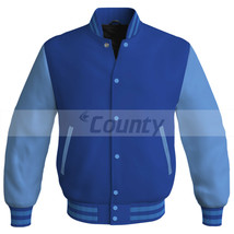 New Letterman Baseball College Bomber Jacket Sports Royal Blue Sky Blue ... - $49.98+