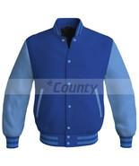 New Letterman Baseball College Bomber Jacket Sports Royal Blue Sky Blue ... - $49.98+