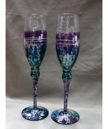 Two Romanian Hand Painted Art Glass Champagne Flutes - $24.99