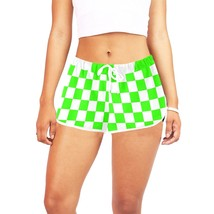 Green and White Checkers Women's All Over Print Casual Shorts - $39.95