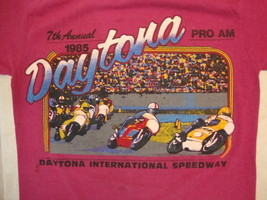 Vintage Daytona International Speedway 7th Annual 1985 Soft Pink T Shirt XS - $27.71