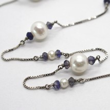 18K WHITE GOLD NECKLACE VENETIAN CHAIN ALTERNATE FACETED BLUE IOLITE AND PEARL image 2