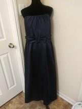 David's Bridal size 16 strapless dress Navy Blue Long Prom bridesmaid  - $18.17