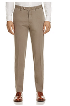 Valentini Stretch Cotton-Silk Classic Fit Trousers, Size 36, Khaki Green - $148.49