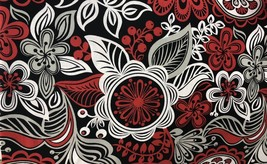 "Red White Black Floral Valance Window Curtain Topper cotton fabric 43""W ... - $10.88"