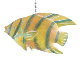Tropical Hand Carved Yellow Angel Fish Three Dimensional Wooden Ceiling ... - $29.62