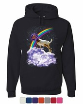Rainbow Goat on a Cloud Hoodie Galaxy Space Funny Universe Gag Sweatshirt - $28.29+