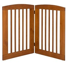 """BarkWood Pets Freestanding Pet Gate with Two 24""""W x 36""""H Folding Wood Pa... - $146.14"""
