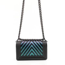 AUTH CHANEL SO BLACK IRIDESCENT LIMITED EDITION CHEVRON CALFSKIN SMALL BOY FLAP  image 3