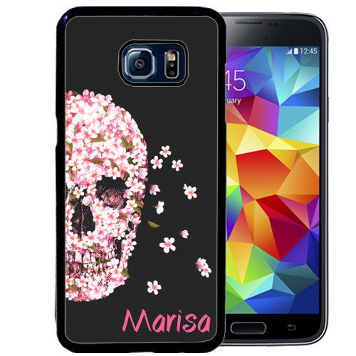 PERSONALIZED RUBBER CASE FOR SAMSUNG NOTE 8 5 4 3 PINK FLOWERS SKULL