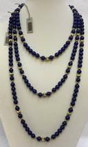 Avon Cobalt Blue Bead Necklaces Set 3 Different Lengths Gold Tone Metal  - $14.84