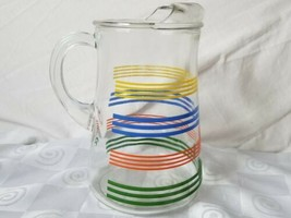 Vtg Anchor Hocking Rainbow Stripe Fiesta Bands Ice Lip Pitcher MCM  - $35.10