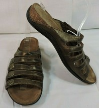 Dansko Sandals 40 Bronze Leather Brass Snaps 5 Straps Worn One Time - $51.30