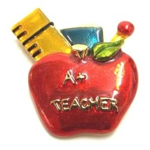 A+ TEACHER APPLE ENAMEL GOLD TONE BROOCH PIN RULER VINTAGE RETRO RARE SI... - $9.49