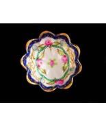 Antique finger bowl - Japanese trinket dish - vintage handpainted ruffle... - $85.00