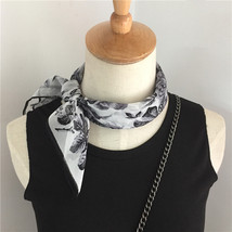 Black Floral Silk Scarf, Silk Scarf for Women  - $25.00