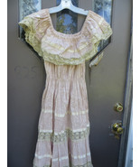 1950s crochet lace and cotton satin trim  boho festival  dress /  1960s ... - $35.50