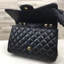 AUTHENTIC CHANEL BLACK QUILTED LAMBSKIN JUMBO CLASSIC FLAP BAG GOLDTONE HARDWARE image 7