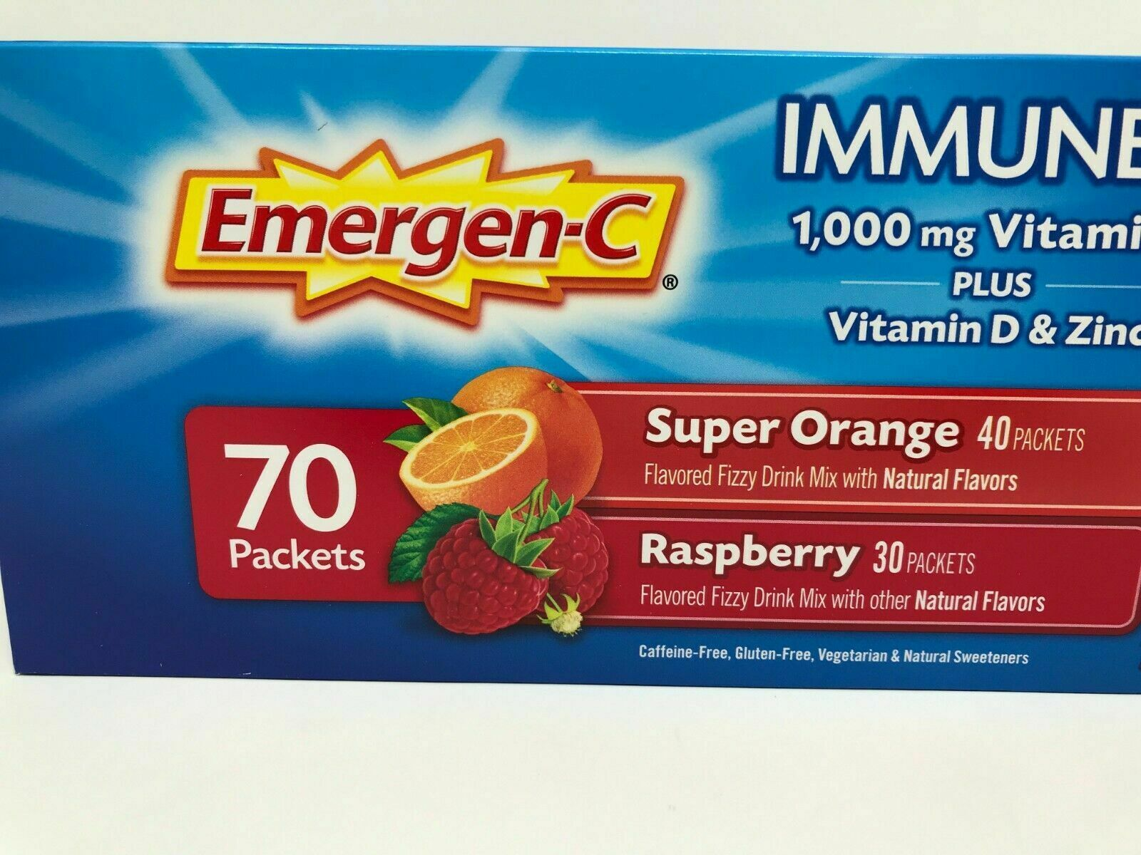 Primary image for 70 ct Emergen-C Immune + Vitamins C 1000mg, D & Zinc 2 Flavors Orange Raspberry