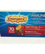 70 ct Emergen-C Immune + Vitamins C 1000mg, D & Zinc 2 Flavors Orange Raspberry  - $39.99