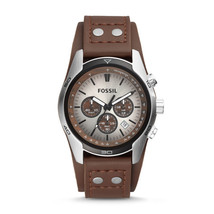 fossil man genuine leather Coachman Chronograph Brown strips watch - $105.00