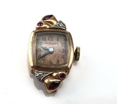 Longines ladies 14k gold wristwatch Cal 4LL with Diamonds and Rubies 3.9g - $197.99