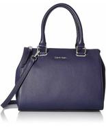 Calvin Klein Halle Pebble Leather Top Zip Satchel Bag, Black Plum $248 - $105.30