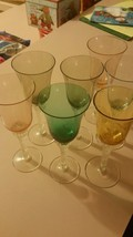 Set of 6 VINTAGE Cordial Wine Glasses Goblets Multi Colored - $37.01