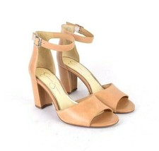 Jessica Simpson Tan Leather High Heel Sandals Pumps Shoes Ankle Strap Si... - $12.86