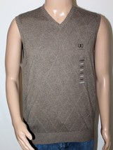 NWT IZOD Men's M Medium Taupe Brown Windowpane 100% Cotton Sweater Vest NEW - $27.08