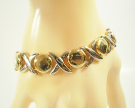 Gold n Silver Plate X and O Link Bracelet Cuff Elegant Classic Vintage E... - $14.84