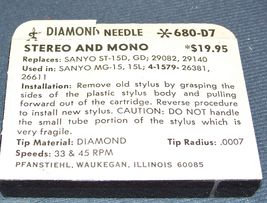 RECORD PLAYER NEEDLE TURNTABLE STYLUS for Sanyo ST15D MG15 26381 DN16 SN26 image 4
