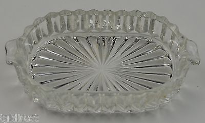 """Anchor Hocking Queen Mary Clear pattern Oval Ashtray 3.75"""" Wide Home Decor"""