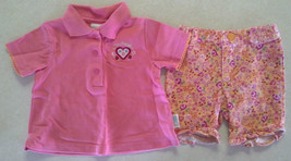 Girl's Sz 3-6 M Months 2 Piece Outfit Pink Floral Heart Top & TCP Peach Shorts - $13.20