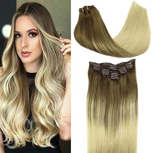 GOO GOO Hair Extensions Clip in Ombre Ash Brown to Platinum Blonde Remy Human Ha