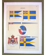 FLAGS Sweden Coat of Arms Royal Standard Pennant - 1899 Color Litho Print - $16.20