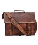 "15"" Men Soft Leather Shoulder Laptop Briefcase Bags Vintage Rustic Messe... - $65.36"