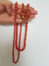 Miriam Haskell Coral necklace with brooch - $157.89