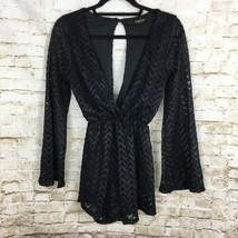 Audrey 3+1 Anthropologie Women's Romper S Black Sheer Lace Cut Out Back New - $18.54