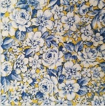 "Andover 100% Cotton Fabric 60"" Wide Blue and White Floral on Yellow By T... - $7.19"