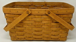 "Longaberger 1994 Market Basket 14.5 x 10 x 8"" DOUBLE HANDLE with protect... - $66.45"