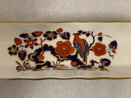 Vintage AYNSLEY BIRD OF PARADISE Relish Tray Condiment Dish Butter Olives Slim image 2