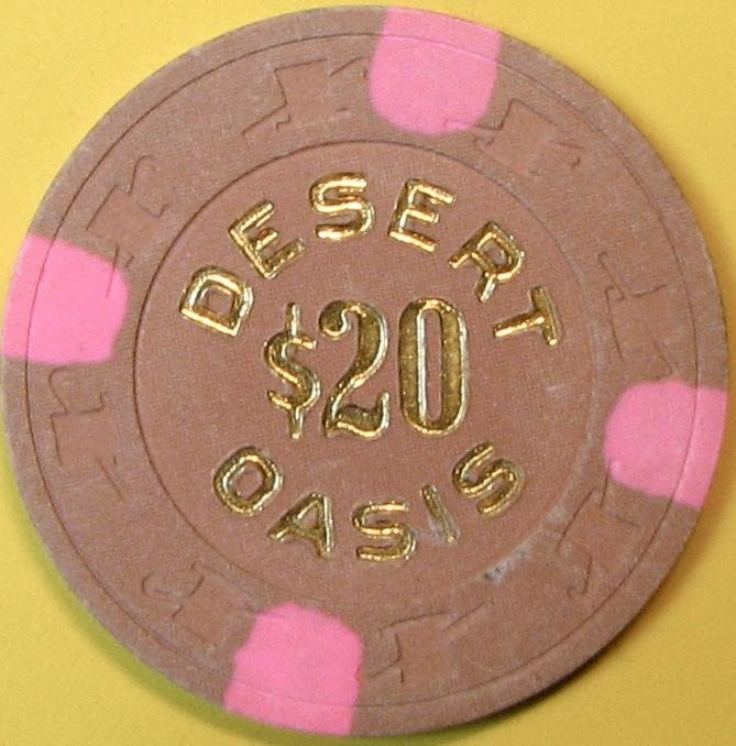 $20 Casino Chip. Desert Oasis, Indio, CA. 1990. Q15. - $17.50
