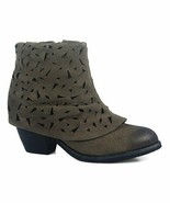 Antelope Gray Cutout Skirted Suede Ankle Boot - euro size 37 - $37.62