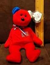 "NEW Retired Ty Beanie Baby ""America"" USA Red Cross Toy Bear MWMT - Red V... - $9.99"